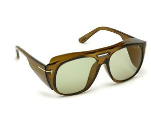 Tom Ford FT0799 48N Sunglasses Shiny Dark Brown/ Green Lens 59mm New Authentic