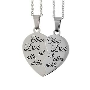 Partner Set Herz Anhänger & 2 Edelstahl Ketten Gravur Silber Farben Liebe