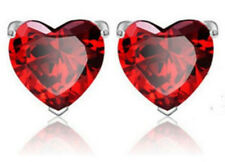 Valentine's Love Heart Earring Set Ruby Red Garnets and Silver January Stone
