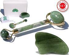 Premium Jade Roller & Gua Sha Pro Set | 100% Real Jade stone | Anti Aging Ski...