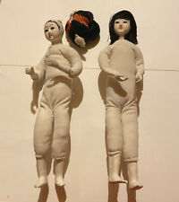 Wood And Plaster Doll Cloth Body Japanese ? Asian Vintage Moveable Arms Legs