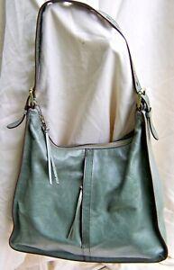 Green HOBO Brand Leather Tote Shoulder Bag Purse w/adjustable Buckle Strap