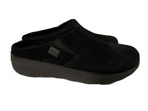 Women's Black Fitflop Suede Mule Clogs size 8 Microwobbleboard