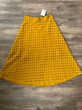 $49.99 NWT H&M High Waist Mustard Yellow Cutout Skirt Size 4 Below The Knee