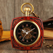 Automatic Square Wood Dial Chain Antique Steampunk Pocket Watch Mechanical