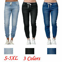 Womens Casual Jogging Joggers Drawstring Jeans Bottoms Ladies Casual Jog Pants
