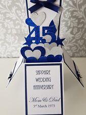 Handmade  Personalised 45th Sapphire  Wedding Anniversary Pop Up  Card
