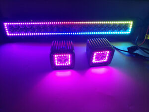 "22"" Offroad LED Light Bar +2x 3"" Pods w/ Bluetooth Chasing RGB Halo & Wiring Kit"