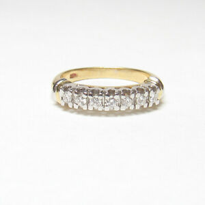 Estate 18K Yellow And White Gold Brilliant Cut Diamond Band Style Ring 0.20 Cts
