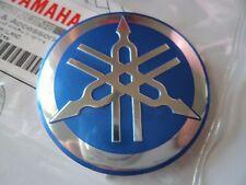 GENUINE Yamaha Retro Cafe Racer Tank Badge Emblem Decal 55mm BLUE/SILVER METAL
