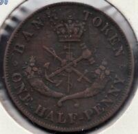 1852 - Bank of Upper Canada - Dragon Slayer - ½ Penny - Superfleas - PC-5B1