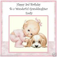 Handmade Personalised Birthday Card ANY AGE Girl Dog Puppy Cute Pink