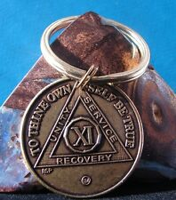 Alcoholics Anonymous AA Key Chain 11 Year keychain medallion coin Token bronze