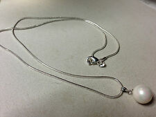 Sterling Silver Snake Chain 12mm Natural South Sea Shell Pearl Necklace Pendant