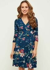 Joe Browns NWT UK size 10 navy floral stretch fit & flare wrap dress