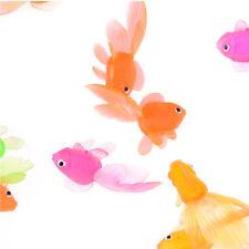 20pcs Plastic Simulation Small Goldfish Soft Rubber Gold Fish Kids Toy A*