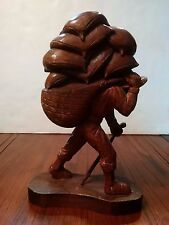 Vintage Mexican Hand Wood Carved Statue by J. Pinal