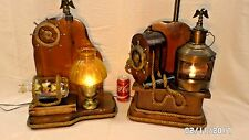 """1716Mm Vtg Pair 2 Mid Century Nautical Wood 30"""" Table Lamps Captain-First Mate"""