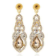 Vintage Champagne chandelier Luxury Hollow Women Long Drop Stud Earrings E1320