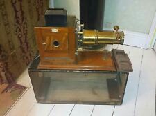 More details for brass and mahogany magic lantern 1890 with case