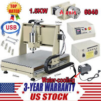 USB 4 Axis CNC 6040 Router Engraver Drilling Carving Milling Machine 1500W VFD