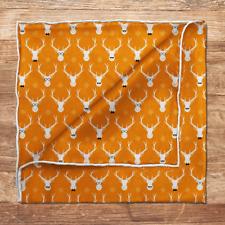 Orange Silk Hipster Elk Pocket Square Mens Wedding / 100% Silk Pocket Square