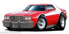 1976 Ford Torino Starsky & Hutch Cartoon Car Wall Decal Sticker Graphic Poster