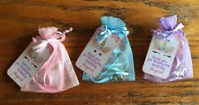 Unicorn charm necklace 6 party favors with satin ribbon and organza bags