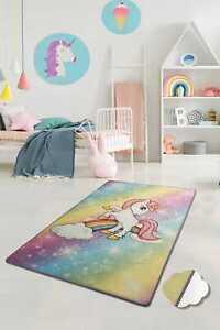 Kinderzimmer Teppich für Kinder Das Kleine Einhorn gemischte Farbe 100x160