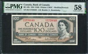 Canada 1954, 100 Dollars, P82b, PMG 58 AUNC