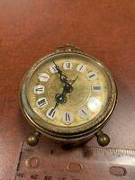 Vintage Linden West Germany Made Gold Filigree Brass Alarm Clock NOT WORKING