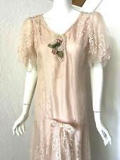 VTG SUSAN LANES Country Elegance BLUSH LACE DRESS 8 Downton Victorian WEDDING