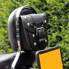 MOTORCYCLE BLACK LEATHER PASSENGER BACKREST SISSY BAR POCKET POUCH BAG (S)