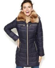 Nautica Q824143 Faux Fur Hooded Mystic Blue Puffer Coat Size Medium