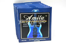 10 Sets of Amila AE190 Electric Guitar Strings 1st-6th Steel Strings 010-046