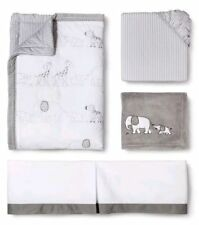 Circo Two by Two 4 Pc Crib Bedding Set ~ Animals ~ Elephant ~ White / Gray ~ New
