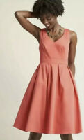 Modcloth Fervour Retro Coral Fit N Flare Dress With Pockets Size Small EUC C6