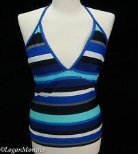 Converse Size L Blue White Black Gray Striped Swim Halter Tankini Top