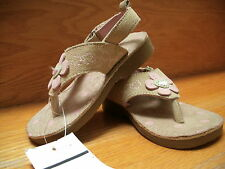Osh Kosh Sandals Girls Toddler size 6 leather Shoes Beige /Pink Flower New w tag