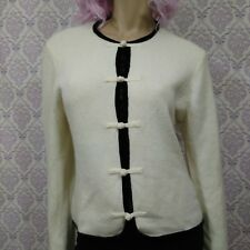 Vintage Laura Ashley Cardigan Womens L Lambswool Angora Black Silk Velvet Trim