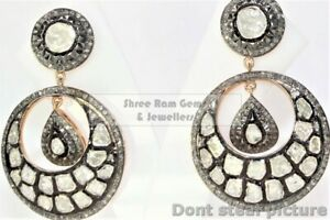 Fine Quality Slice Polki And Pave Diamond 925 Silver Victorian Earring X13