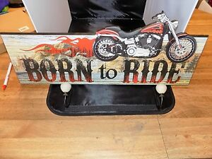 COAT HANGER BORN TO RIDE  WOODEN   MADE BY DWK CORP