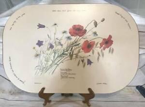 1977 Vintage Webb Bower Poppy Flowers Trivet Large Hot Pad R Combe Miller TubI