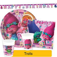 Dreamworks TROLLS Birthday Party Range - Tableware Supplies Balloons Decorations