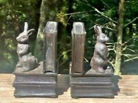 Vintage Cast Iron Figural Books & Bunny Rabbit Bookends