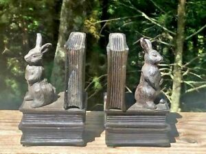 Vintage Cast Iron Figural Books & Bunny Rabbit Bookends