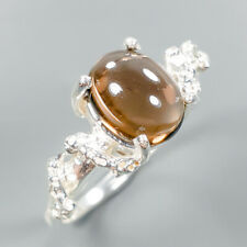Vintage Natural Smoky Quartz 925 Sterling Silver Ring Size 8.75/R109621