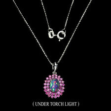 Oval Black Opal 7x5mm Ruby Round Diamond Cut 925 Sterling Silver Necklace 16inch