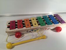Vintage 1978 Fisher Price #870 Wooden Pull-A-Tune Xylophone Works Good