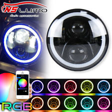 1x7Inch Headlight LED RGB Angel Eyes For Kawasaki VN Vulcan 500 750 800 900 1500